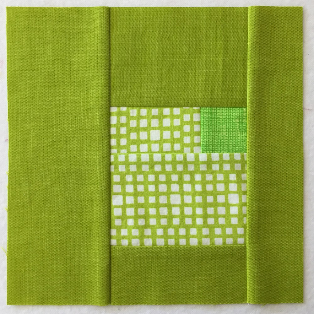 quilt block in yellow-green