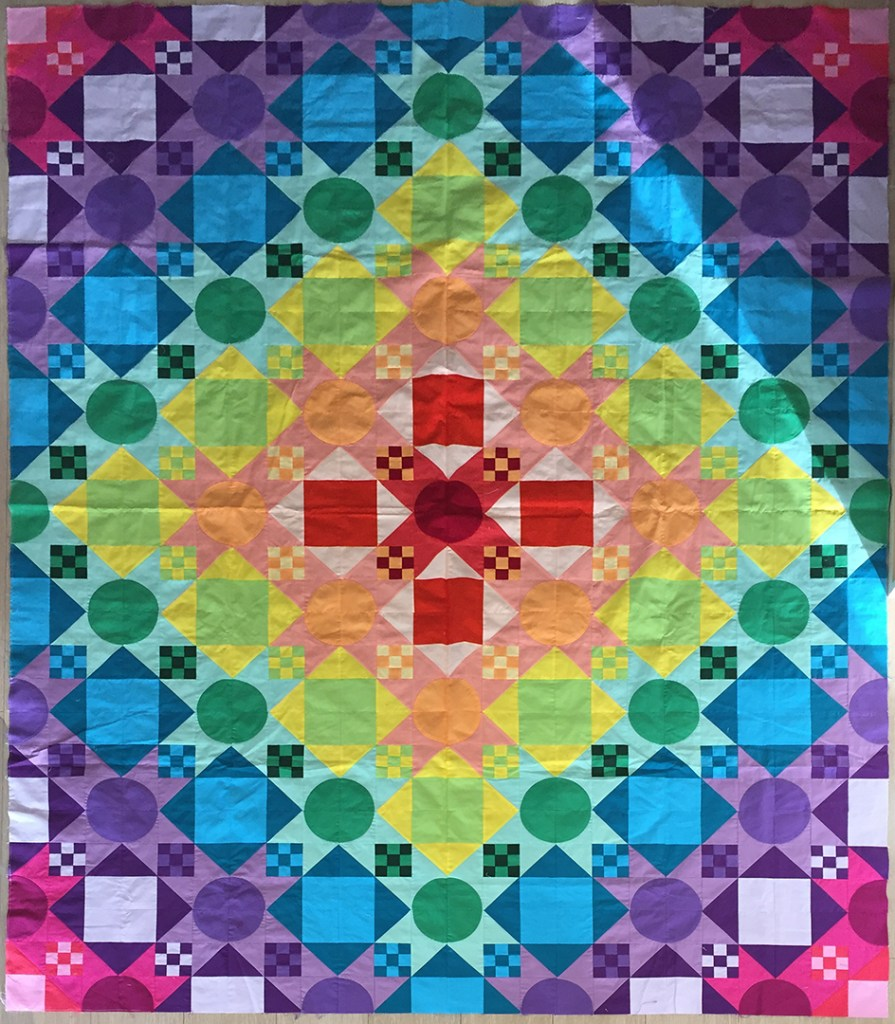 finished color-block quilt top