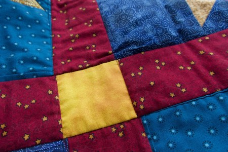 Quilted-in tucks after stabilizing