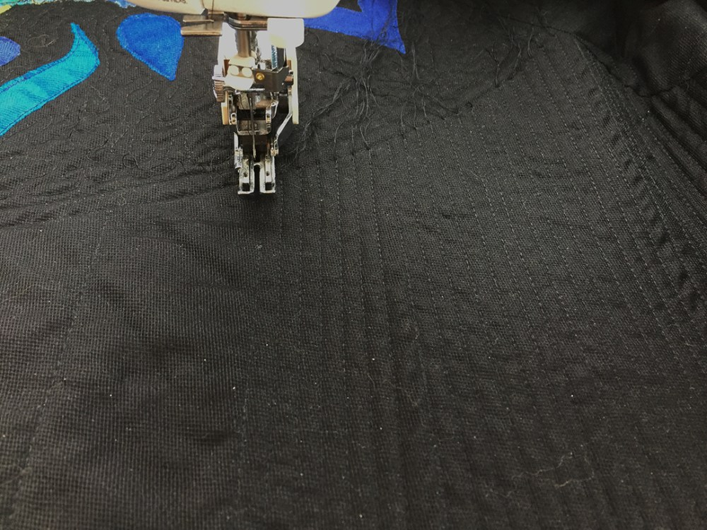 close-set, straight-line quilting