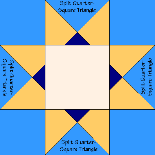 Ohio Star Variation Quilt Block Diagram with Free Instructions at QuiltTherapy.com