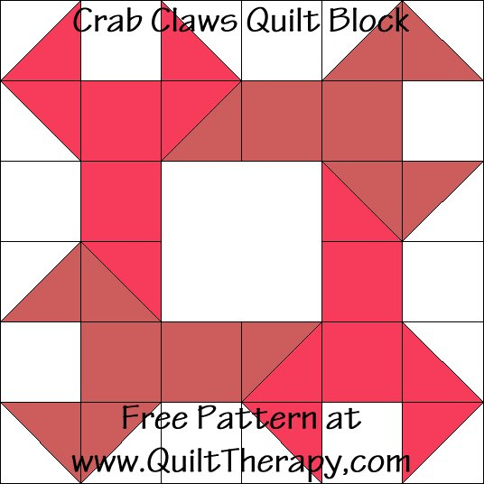 "Crab Claws Quilt Block Free Pattern for a 12"" quilt block at www.QuiltTherapy.com!"