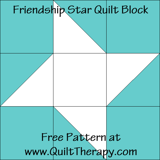 Friendship Star Quilt Block Free Pattern at QuiltTherapy.com