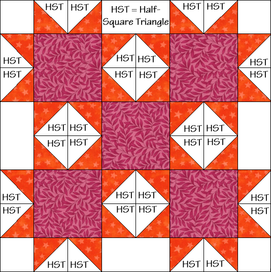 Bright Stars Variation Quilt Block