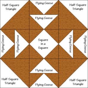 Tea for Four Quilt Block Diagram