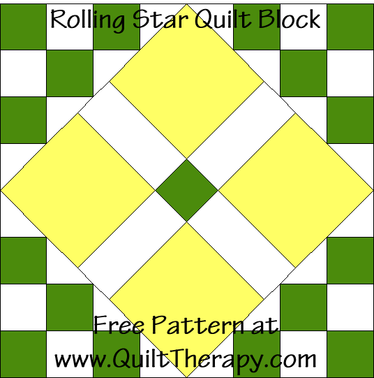 Rolling Star Quilt Block Free Pattern at QuiltTherapy.com!