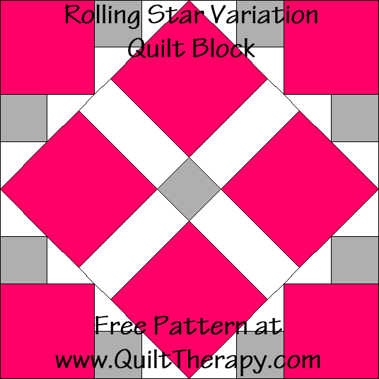 Rolling Star Variation Quilt Block Free Pattern at QuiltTherapy.com!