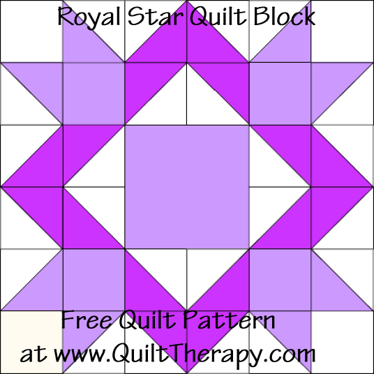 Royal Star Quilt Block Free Pattern at QuiltTherapy.com!