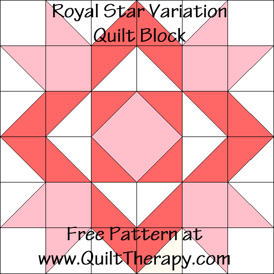 Royal Star Variation Quilt Block Free Pattern at QuiltTherapy.com!