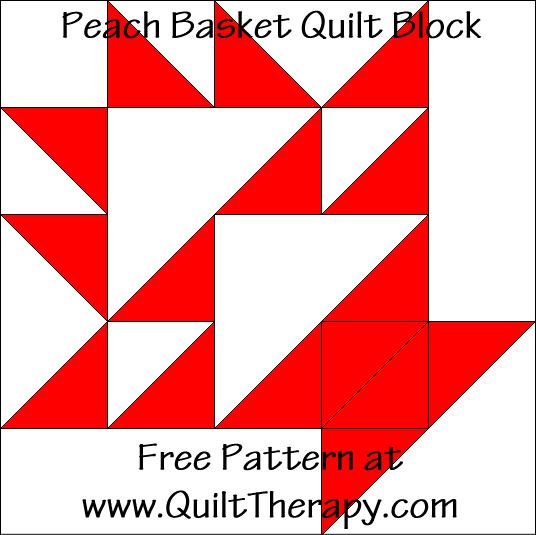 Peach Basket Quilt Block Free Pattern at QuiltTherapy.com!Fruit Basket Quilt Block Free Pattern at QuiltTherapy.com!