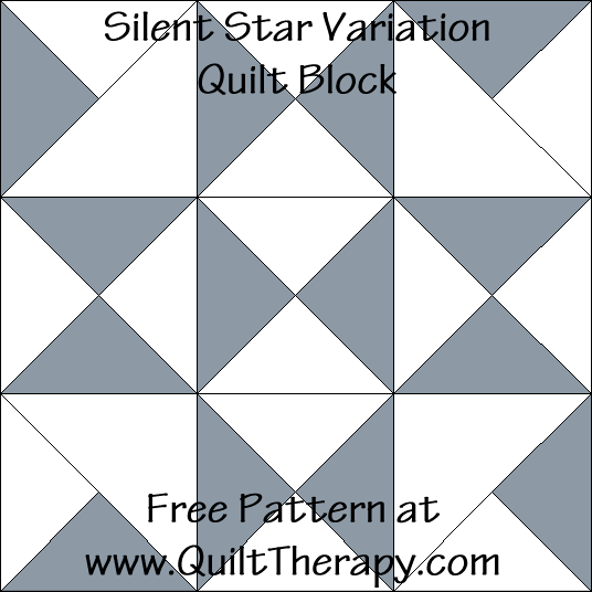 Silent Star Variation Quilt Block Free Pattern at QuiltTherapy.com!