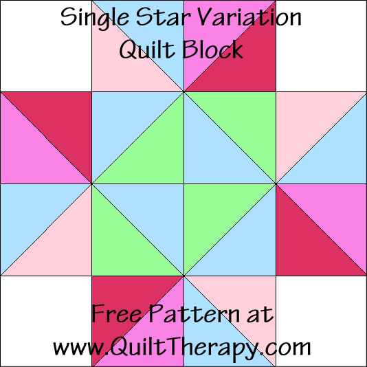 Single Star Variation Quilt Block Free Pattern at QuiltTherapy.com!