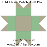 1941 Nine-Patch Quilt Block Free Pattern at QuiltTherapy.com!
