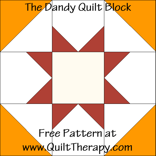 """The Dandy Quilt Block Free Pattern for a 12"""" quilt block at www.QuiltTherapy.com!"""