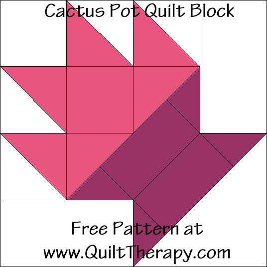 Cactus Pot Quilt Block Free Pattern at QuiltTherapy.com!