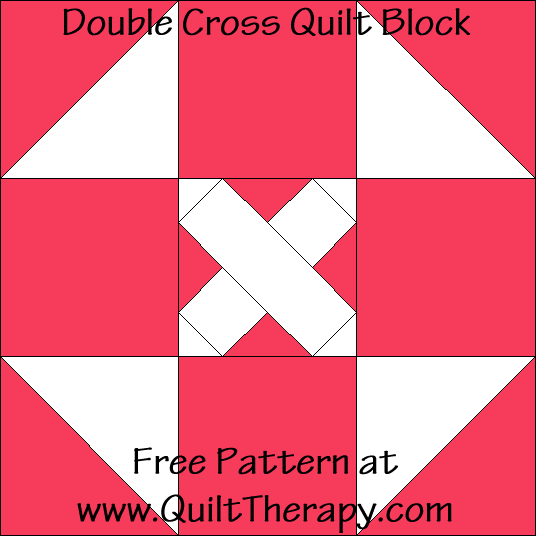 Double Cross Quilt Block Free Pattern at QuiltTherapy.com!