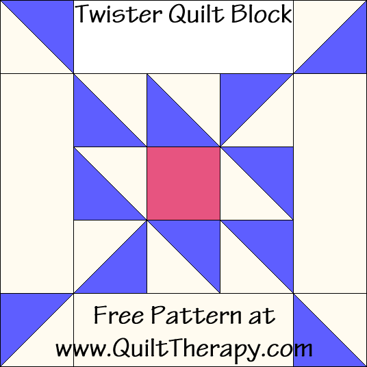 Twister Quilt Block Free Pattern at QuiltTherapy.com!