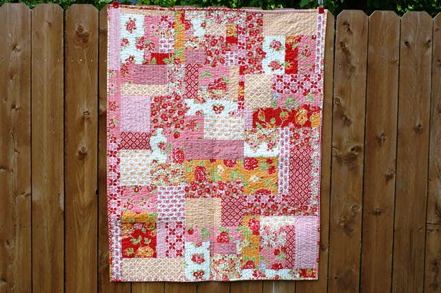 marmalade fabric, baby girl quilt, modern baby quilt, improv pieced quilt, twin quilt