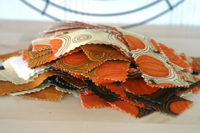 strips of fabric for fall wreath