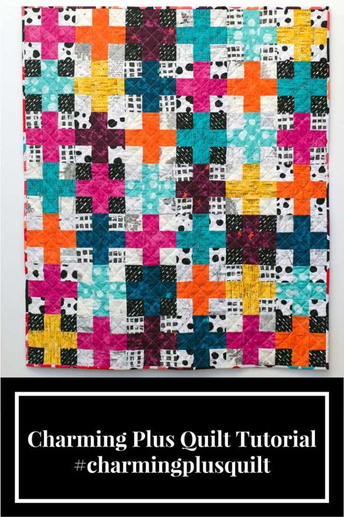 Charming Plus Quilt tutorial featured on Sew Mama Sew #charmingplusquilt