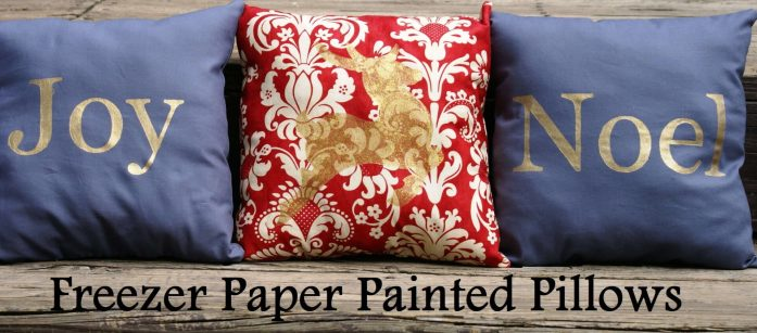 freezer paper painted pillows