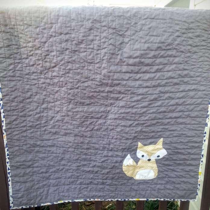 simple fox baby quilt