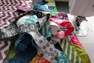 v christenson string quilt with binding