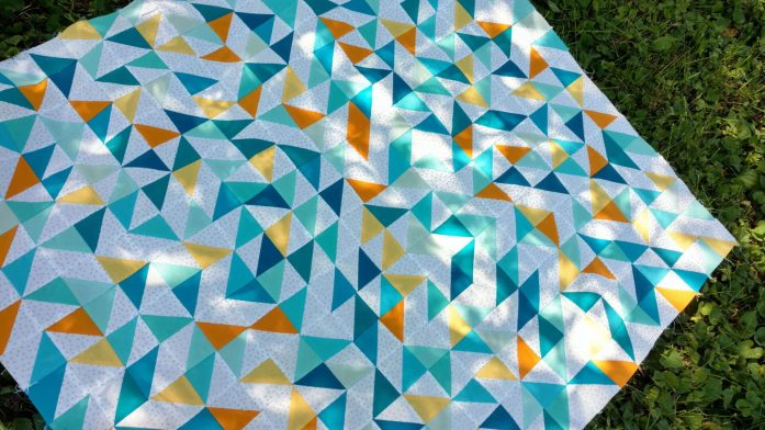 baby quilt, scrap quilt, solids quilt, modern quilt, half square triangles