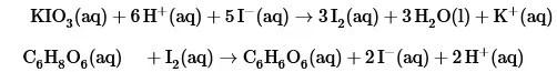 Reacciones de oxido-reducción del sistema ácido ascórbico - yodo