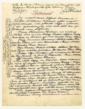 Primera hoja de la ultima voluntad y testamento de Alfred Nobel