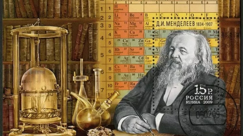 Sello postal en honor a Dmitri Mendeleev, Rusia 2009