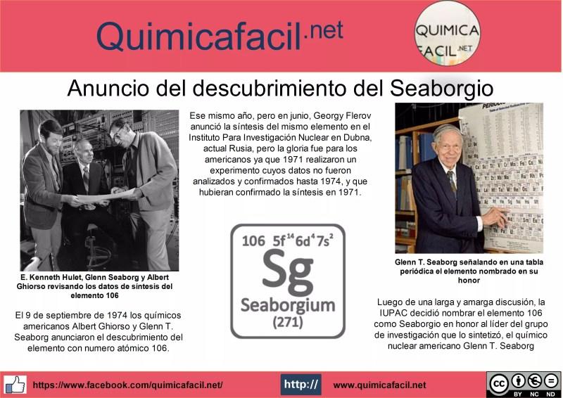 El 9 de septiembre de 1974 los químicos americanos Albert Ghiorso y Glenn T. Seaborg anunciaron el descubrimiento del elemento con numero atómico 106.