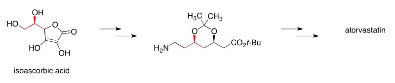 Síntesis de la atorvastatina en la química de la producción (proceso) comercial. El paso clave para establecer los estereocentros de esta medicación, mediante el uso inicial de un producto natural de bajo costo (enfoque de piscina quiral).