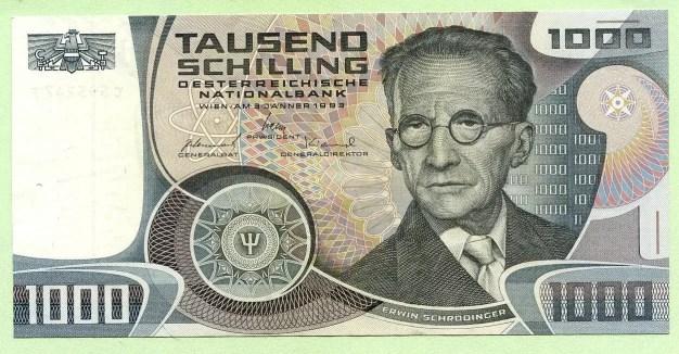 Billete de 1000 chelines con el rostro de Erwin Schrödinger (Austria 1983)