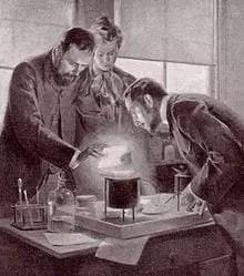 Marie y Pierre Curie experimentando con el radio, un dibujo de André Castaigne