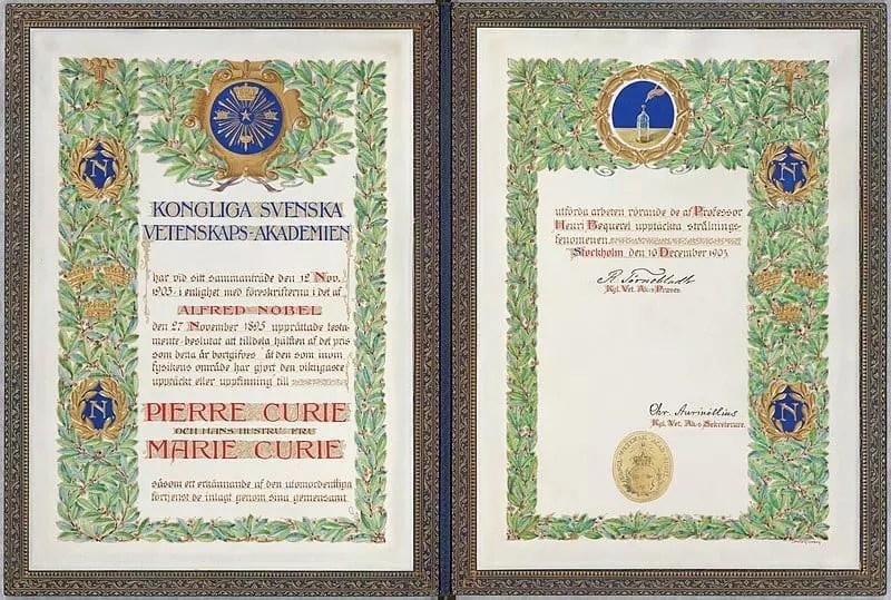 Diploma premio Nobel Curie