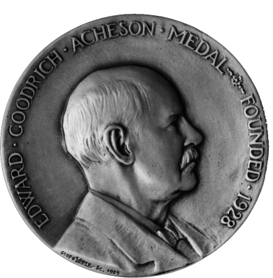 Medalla del premio Edward Goodrich Acheson, nombrado en su honor por The Electrochemical Society