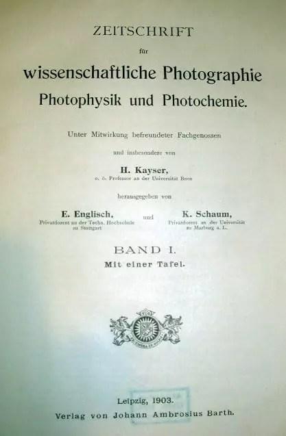 Portada del Zeitschrift für wissenschaftliche Photographie, Photophysik und Photochemie, coeditada por Kayser