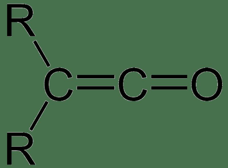 Estructura general de un ceteno, grupo funcional descubierto por Staudinger. R es cualquier grupo.