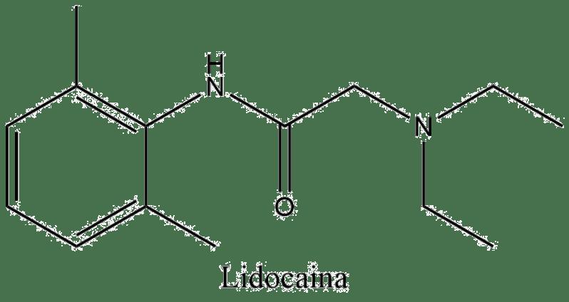 Estructura 2D de la lidocaína