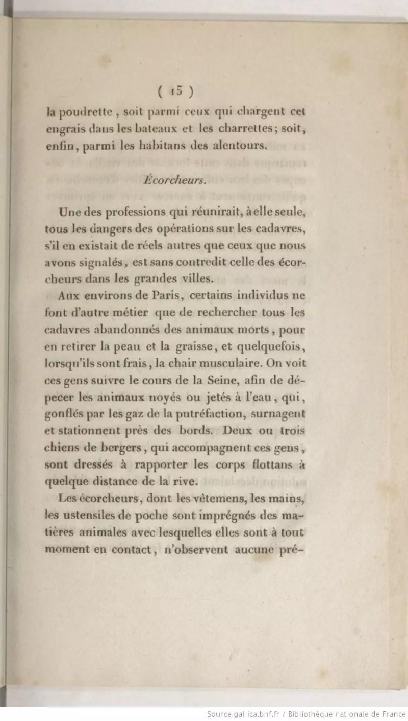 Página de Notice sur les Moyens d'Utiliser Toutes les Parties des Animaux Morts Dans les Campagnes, manual escrito por Payen para la utilización de restos animales