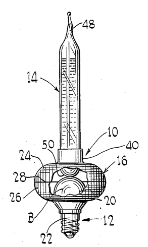Una luz de burbuja navideña, como se muestra en un dibujo de la patente estadounidense 2,353,063