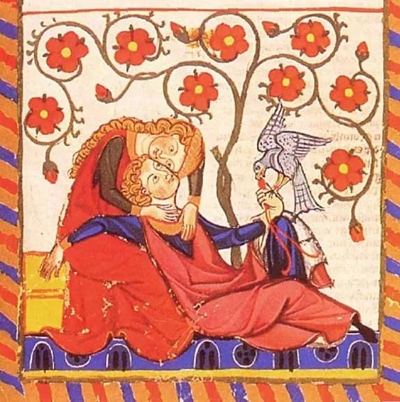 Amantes en el jardín, manuscrito Manesse circa. 1300. En esta obra se puede apreciar el uso de minio o rojo de plomo