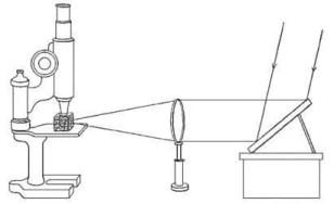 La iluminación de las partículas coloidales del lado dispersa la luz, haciéndolas visibles, fundamento del ultramicroscopio