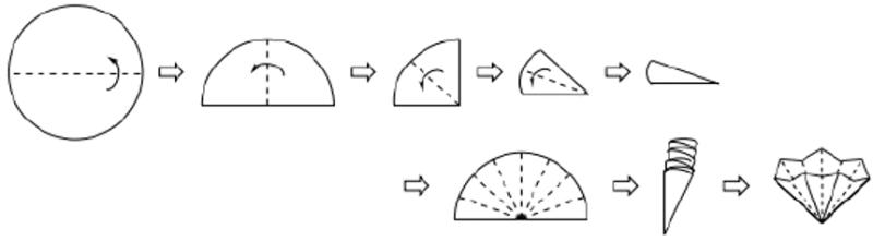 Imagen 6: Doblado de un papel de filtro acanalado. Las líneas de puntos representan lugares para doblar el papel filtro. Las flechas muestran la dirección del plegado.