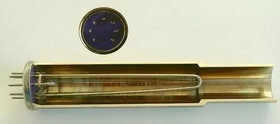 Corte esquemático de un medidor de Pirani