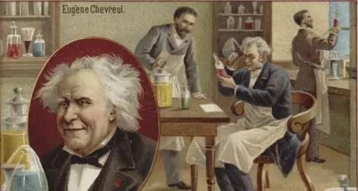 Postal que muestra el laboratorio de Chevreul