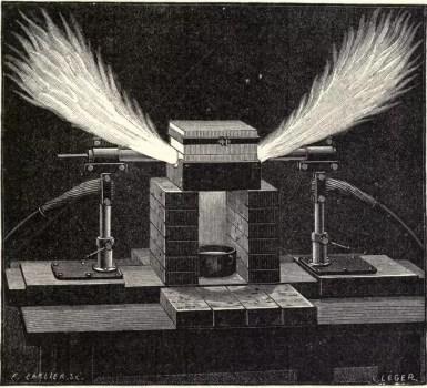 Dibujo de un horno de Moissan en funcionamiento