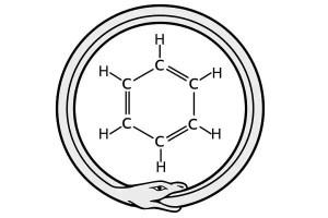 Una serpiente ouroboros y la estructura del benceno
