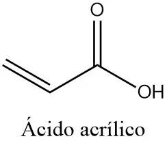 Estructura 2D del ácido acrílico